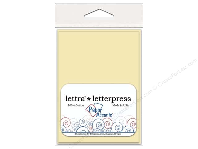 3 1/2 x 5 in. Lettra Letterpress Card & Envelopes by Paper Accents 10 pc. Flat  Natural