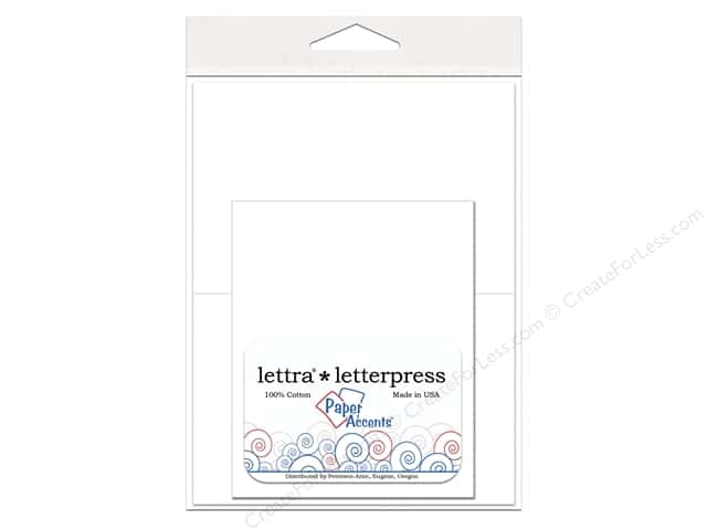 4 1/4 x 5 1/2 in. Lettra Letterpress Card & Envelopes by Paper Accents 10 pc. White