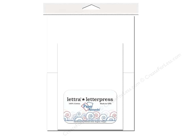 5 x 7 in. Lettra Letterpress Card & Envelopes by Paper Accents 10 pc. White