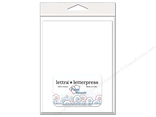 5 x 7 in. Lettra Letterpress Card & Envelopes by Paper Accents 10 pc. Flat White