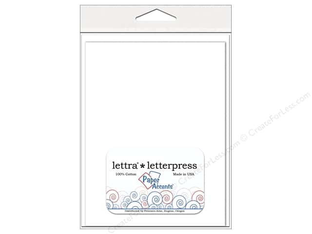 5 x 7 in. Lettra Letterpress Card & Envelopes by Paper Accents 10 pc.Heavy Flat White