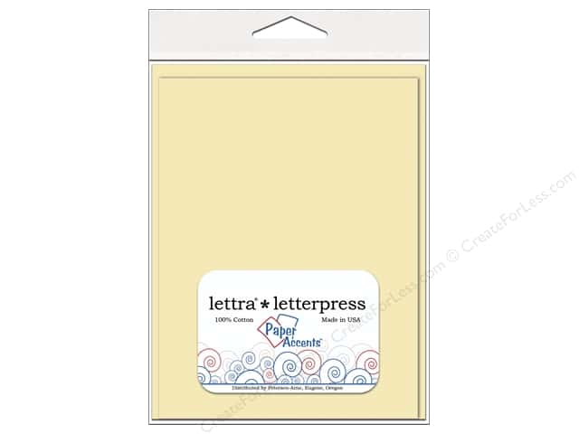 5 x 7 in. Lettra Letterpress Card & Envelopes by Paper Accents 10 pc. Heavy Flat Natural