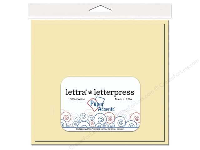 6 1/2 x 6 1/2 in. Lettra Letterpress Card & Envelopes by Paper Accents 10 pc. Flat Natural