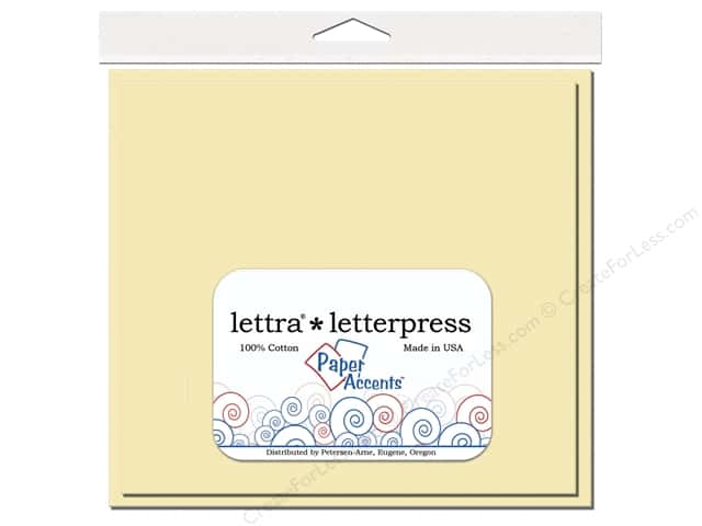 6 1/2 x 6 1/2 in. Lettra Letterpress Card & Envelopes by Paper Accents 10 pc. Heavy Flat Natural