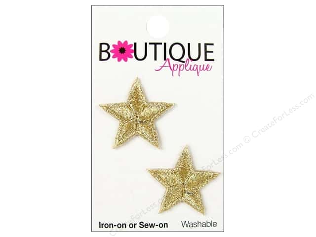 Blumenthal Boutique Applique 1 in. Gold Metallic Stars 2 pc.