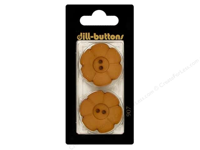 Dill 2 Hole Buttons 1 1/8 in. Dark Beige Flower #907 2pc.