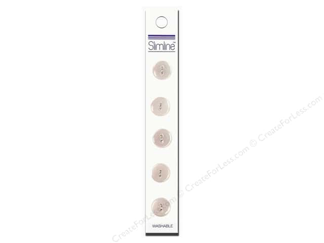 Slimline 2 Hole Buttons 1/2 in. White 5pc