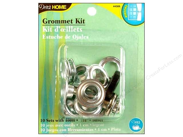 Dritz Home Curtain Grommets Kit 7/16 in Round Silver Zinc 10pc