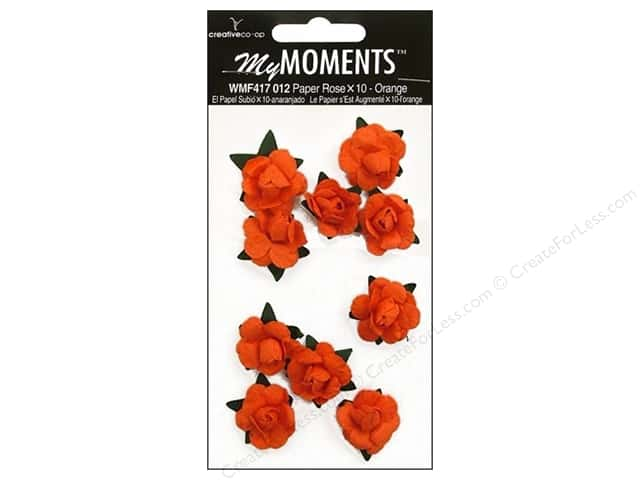 My Moments Embellishment Flower Paper Mini Roses Orange
