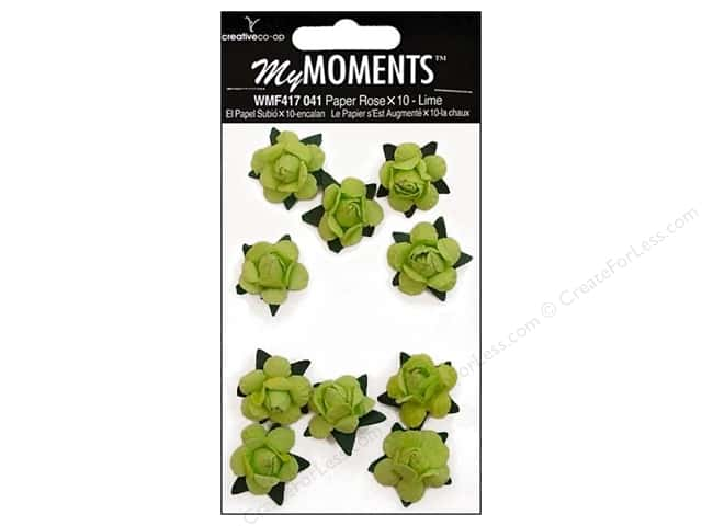 My Moments Embellishment Flower Paper Mini Roses Lime