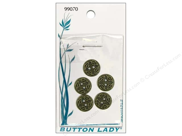 JHB Button Lady Buttons 1/2 in. Antique Brass Leaves #99070 5 pc.
