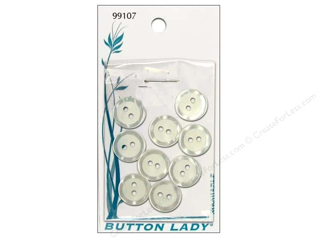 JHB Button Lady Buttons 1/2 in. Pearlized White #99107 9 pc.