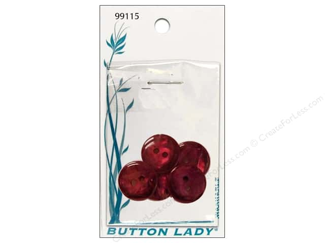 JHB Button Lady Buttons 5/8 in. Burgundy #99115 5 pc.