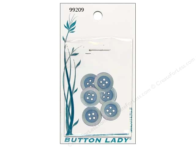 JHB Button Lady Buttons 5/8 in. Light Blue #99209 6 pc.