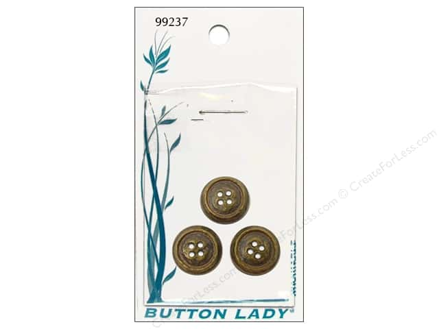 JHB Button Lady Buttons 5/8 in. Antique Brass #99237 3 pc.