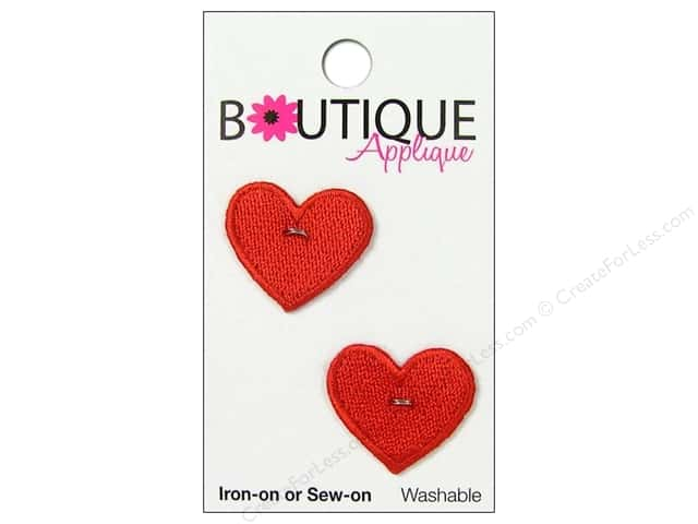 Blumenthal Boutique Applique 7/8 in. Red Hearts 2 pc.
