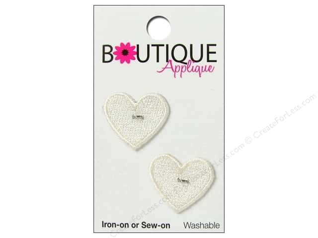 Blumenthal Boutique Applique 7/8 in. White Hearts 2 pc.