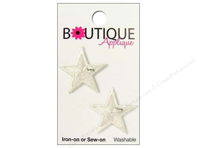 Blumenthal Boutique Applique 1 in. White Stars 2 pc.