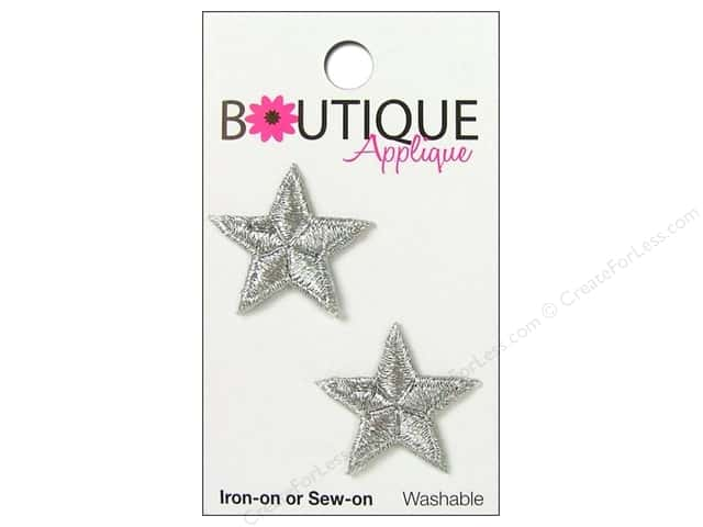 Blumenthal Boutique Applique 1 in. Silver Metallic Stars 2 pc.