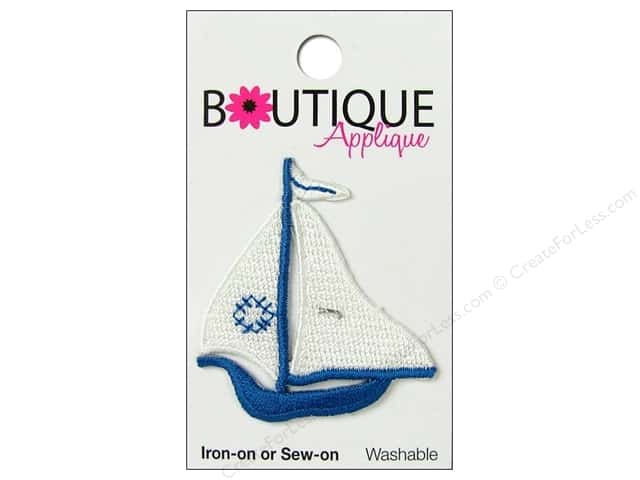 Blumenthal Boutique Applique 1 3/4 in. White & Blue Sailboat