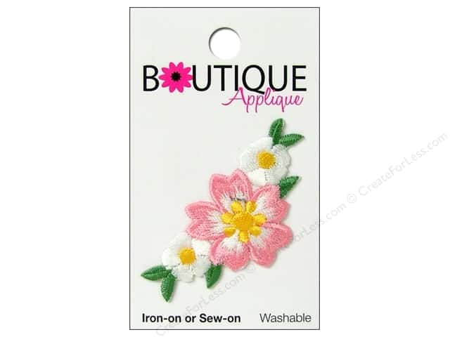 Blumenthal Boutique Applique 2 1/4 in. Pink & White Flower Trio