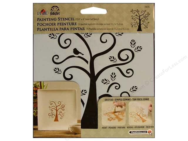 Plaid FolkArt Painting Stencils 6 x 6 in. Curly Tree