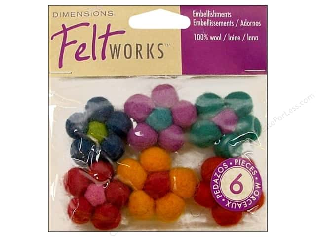 Dimensions Feltworks 100% Wool Felt Embellishment Mini Ball Flower