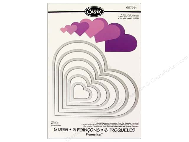 Sizzix Framelits Die Set 6 pc. Hearts