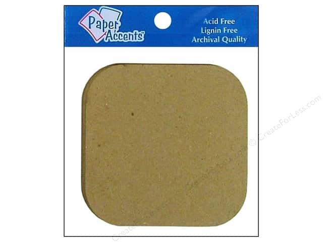 Paper Accents Chipboard Shape Square with Round Corner 8 pc. Natural