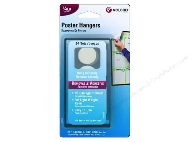 Velcro Removable Poster Hanger 1/4 lb. White 24pc.