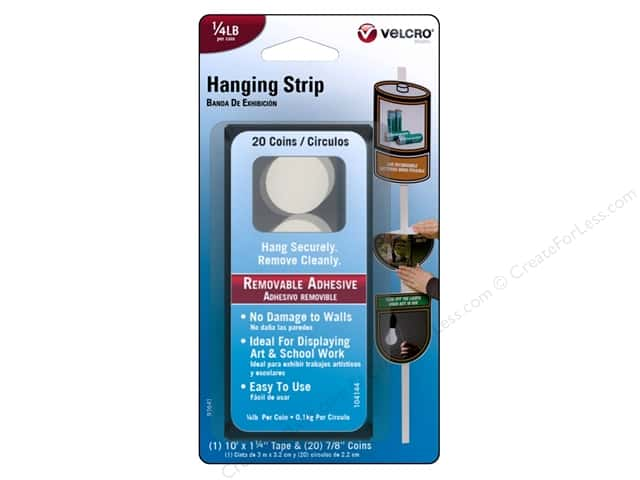 Velcro Removable Hanging Strip  1/4 lb. White 20pc.