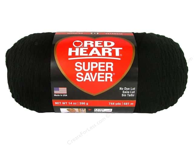 Red Heart Super Saver Jumbo Yarn 744 yd. #312 Black