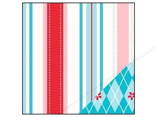 Bazzill Paper 12x12 Divinely Sweet Red Dash Stripe/Argyle Teal 25 pc.