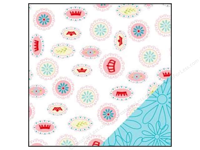 Bazzill 12 x 12 in. Paper Divinely Sweet Flower Cameo/Flower Power Teal 25 pc.