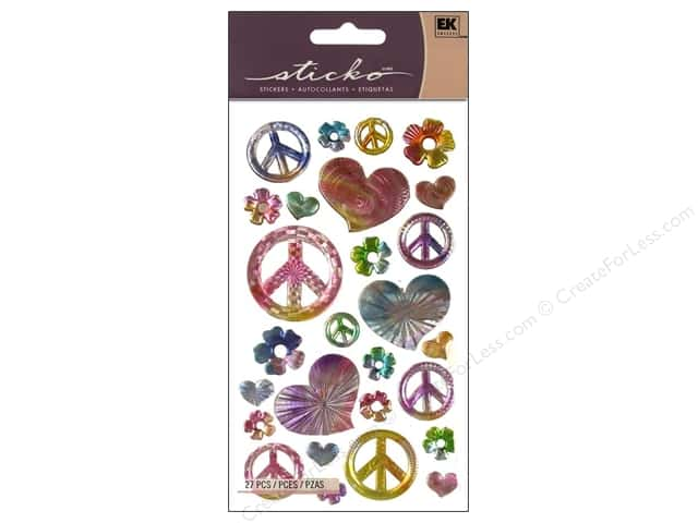 EK Sticko Stickers Rainbow Peace Signs