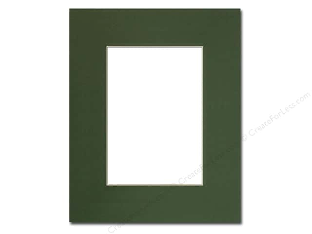Pre-cut Photo Mat Board by Accent Design Cream Core 8 x 10 in. for 5 x 7 in. Photo Hunter Green