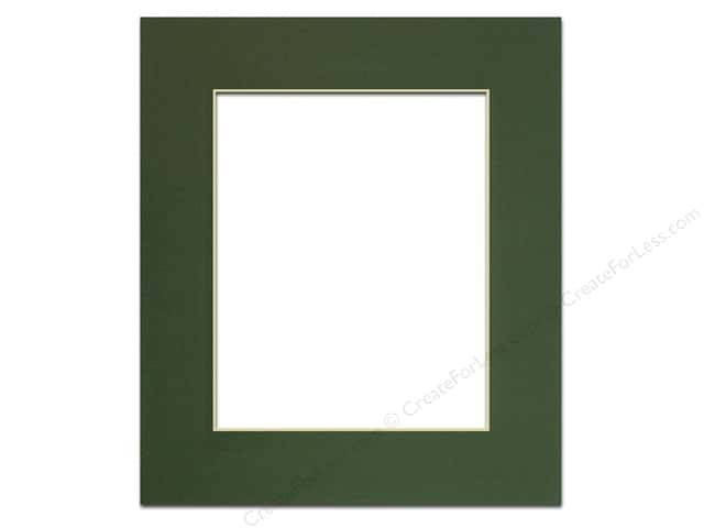 Pre-cut Photo Mat Board by Accent Design Cream Core 11 x 14 in. for 8 x 10 in. Photo Hunter Green