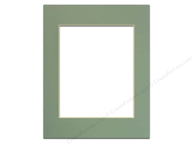 Pre-cut Photo Mat Board by Accent Design Cream Core 11 x 14 in. for 8 x 10 in. Photo Sea Foam