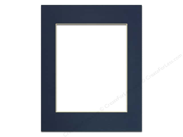 Pre-cut Photo Mat Board by Accent Design Cream Core 11 x 14 in. for 8 x 10 in. Photo Yorktown Blue