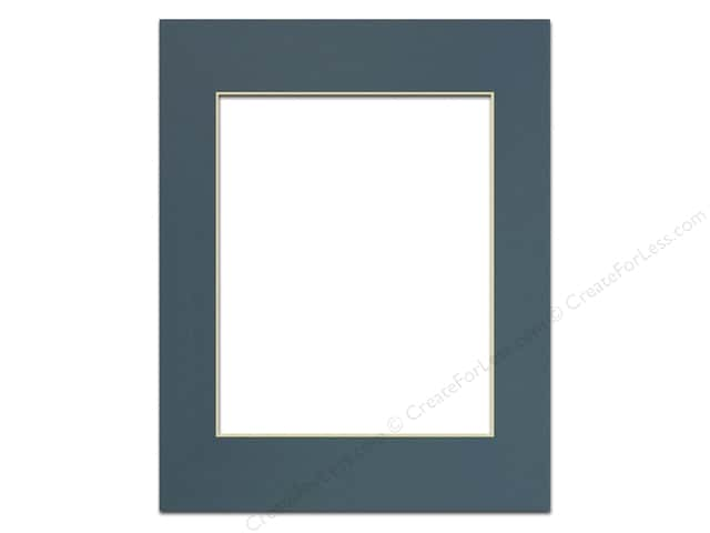 PA Framing Pre-cut Photo Mat Board Cream Core 11 x 14 in. for 8 x 10 in. Photo Antique Blue