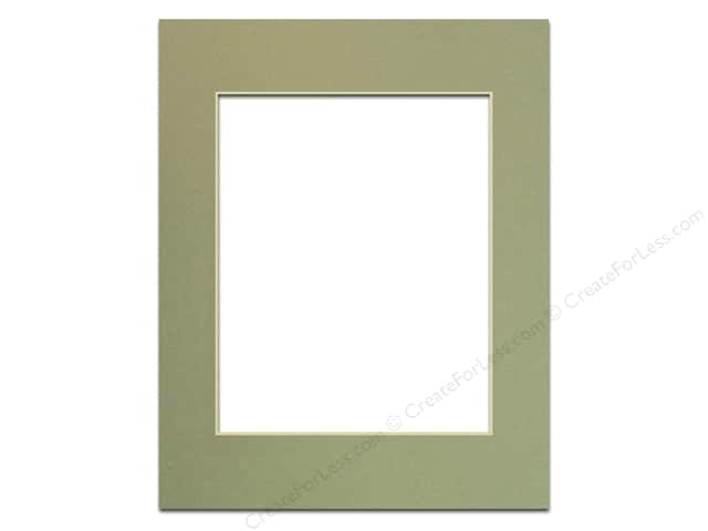 Pre-cut Photo Mat Board by Accent Design Cream Core 11 x 14 in. for 8 x 10 in. Photo Moss