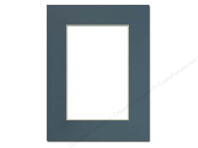 Pre-cut Photo Mat Board by Accent Design Cream Core 9 x 12 in. for 6 x 9 in. Photo Antique Blue
