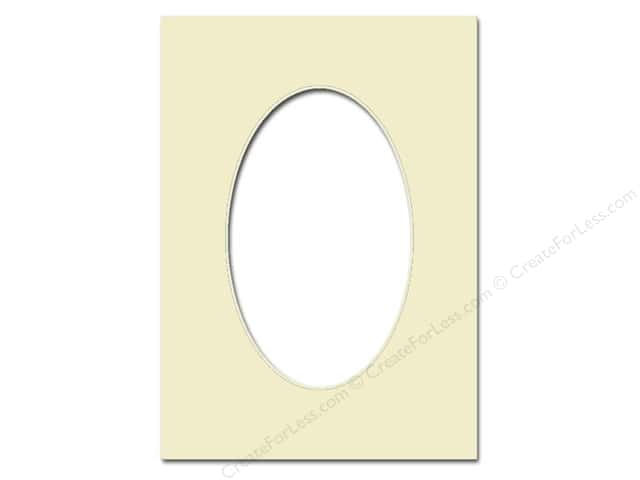 Pre-cut Oval Photo Mat Board by Accent Design Cream Core 5 x 7 in. for 3 1/2 x 5 in. Photo Ivory