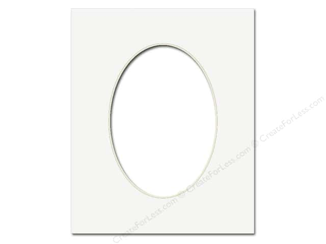 Pre-cut Oval Photo Mat Board by Accent Design Cream Core 8 x 10 in. for 5 x 7 in. Photo White