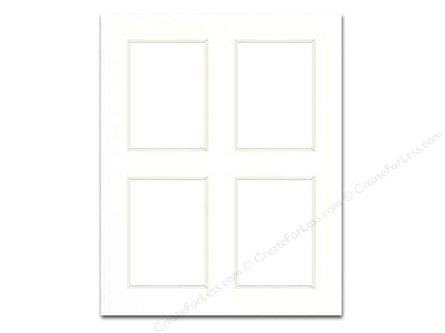 Pre-cut Double Thick Gallery Photo Mat Board by Accent Design White Core 8 x 10 in. White with 4 Openings