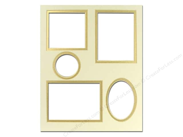 Pre-cut Double Photo Mat Board by Accent Design Cream Core 8 x 10 in. 5 Openings Ivory/Gold