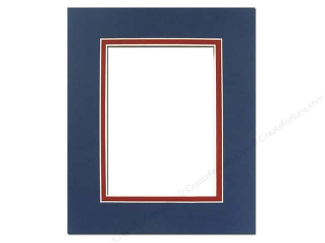 Pre-cut Double Photo Mat Board by Accent Design Cream Core 8 x 10 in. for 5 x 7 in. Photo Bottle Blue/Deep Red
