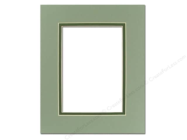 Pre-cut Double Photo Mat Board by Accent Design Cream Core 8 x 10 in. for 5 x 7 in. Photo Sea Foam/Hunter Green
