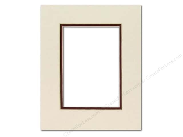 Pre-cut Double Photo Mat Board by Accent Design Cream Core 8 x 10 in. for 5 x 7 in. Photo White Cream Pebble/Maroon
