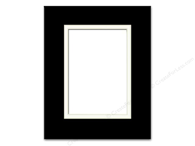 Pre-cut Double Photo Mat Board by Accent Design Cream Core 8 x 10 in. for 5 x 7 in. Photo Black/White